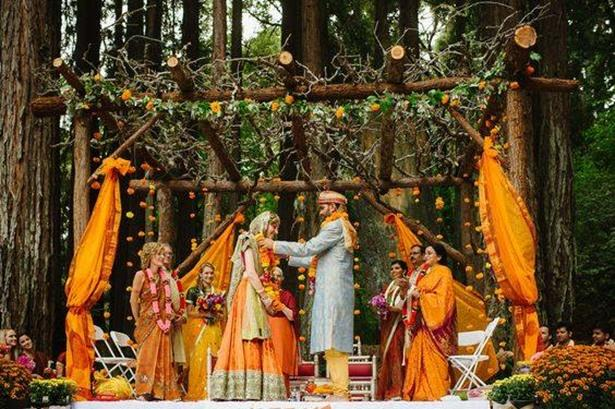 Beautiful rustic mandap in the woods!