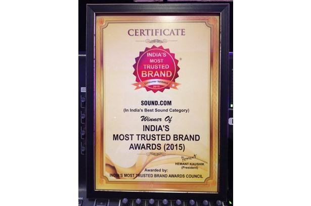 SOUND.COM wins India's Most Trusted Brand Awards(2015).