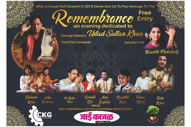 Upcoming: Remembrance- an evening dedicated to Ustad Sultan Khan to be held on 28th Nov 2019