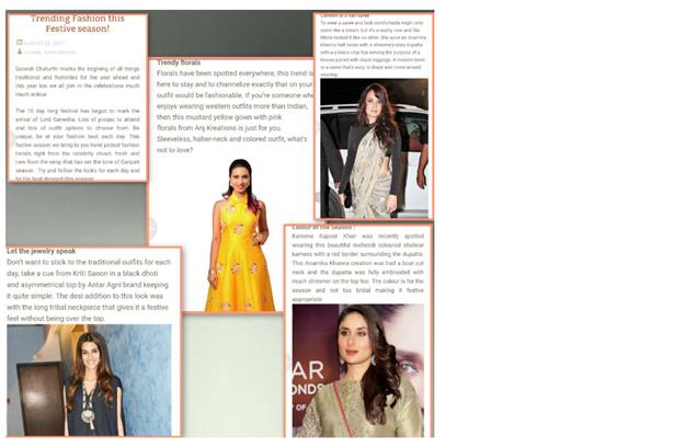 Modelling for ANJ CREATIONS, Anchor/model Kavea R Chavali is featured alongside the Bollywood beauties in this fashion article on Lifestyles of Mumbai