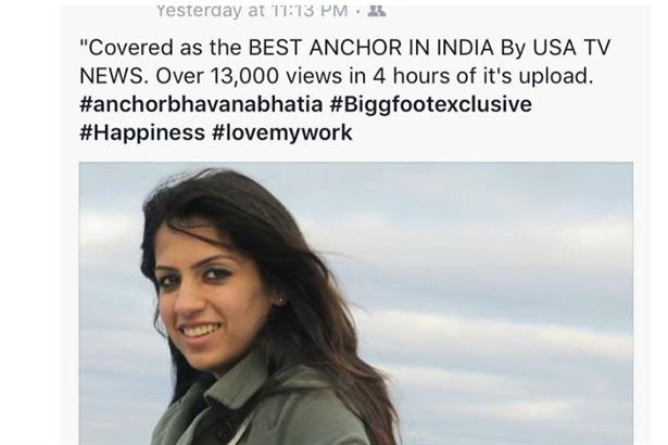Anchor Bhavana Bhatia covered as the best emcee in USA TV NEWS :)