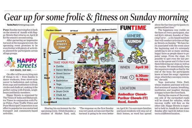 Anchor Nitish Kamdar gets featured once again in Times of India for promoting Happy Streets and enco
