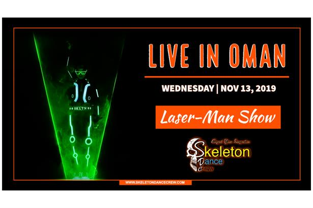 Skeleton Dance Crew performing Laser-Man Show Live in Oman