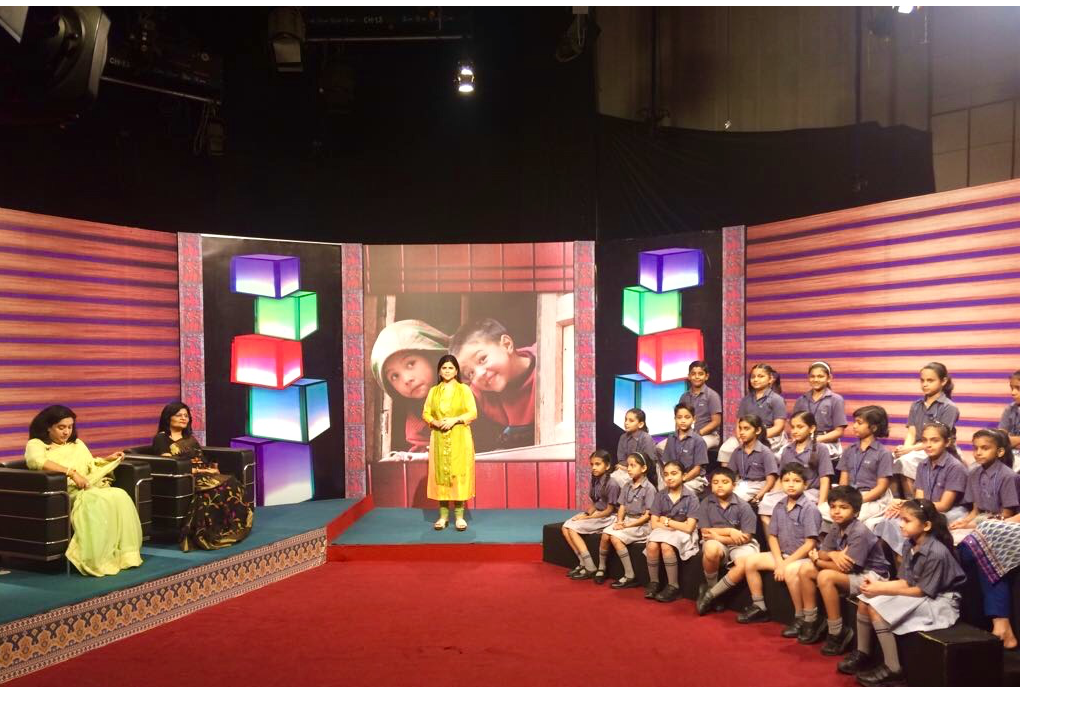 Purnima Sharma anchoring a TV show on Safe Childhood for a national TV