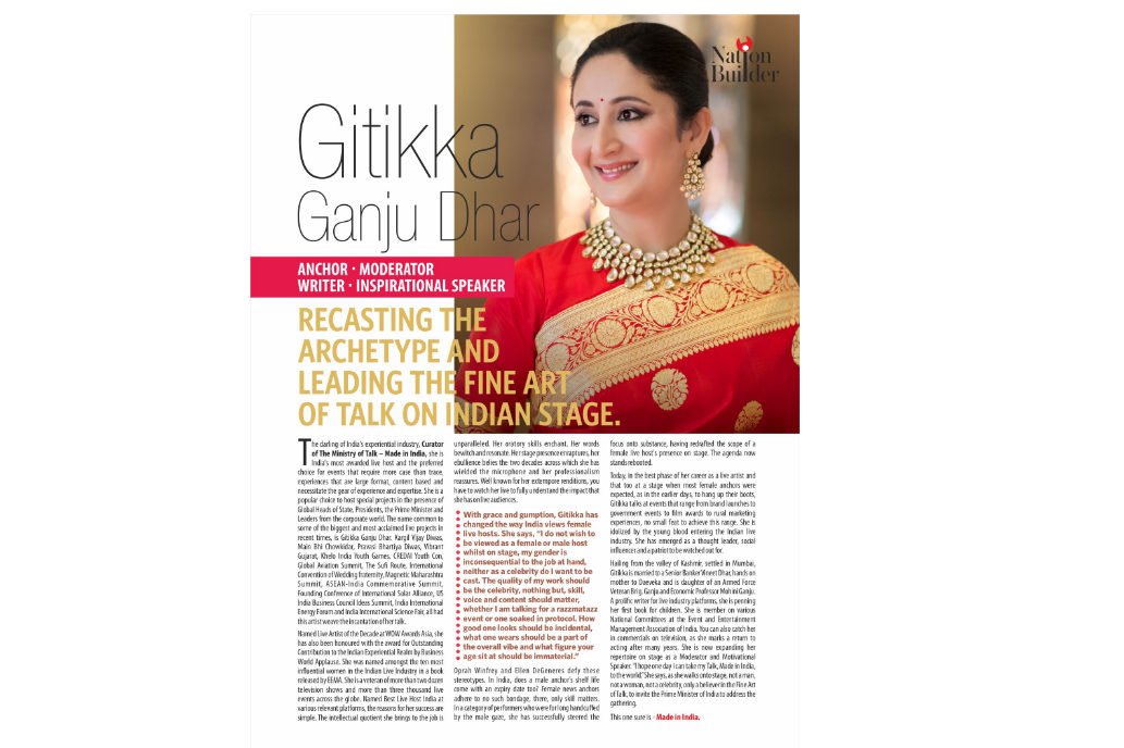 Gitikka Ganju Dhar Named as NATION BUILDER by India Today Magazine in latest Issue Among 100 Nation Builders.