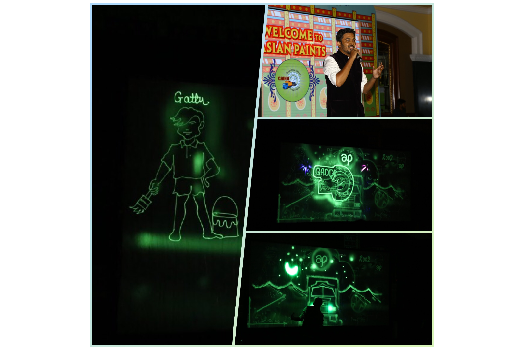 Vivek Patil performed customise light art for Asian Paints at ITC Grand Central Mumbai for approx 300 audiences. The event was managed by Planet Buzz.