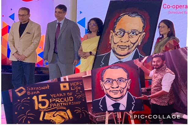 Performed live Speed & Glitter painting at the event to Celebrate 15 years Partnership between Saraswat Bank & HDFC life.