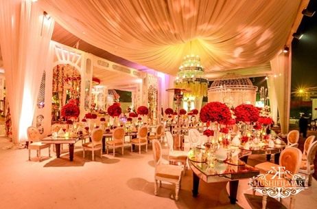 An Absolutely Neat Maharaja Themed Wedding Drenched In Red, White & Gold! Designed By Elements Decor