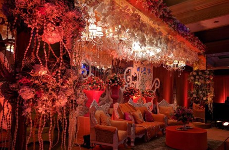 Maadhyam Events' Peach Ring Ceremony Adorned With Mirrors & Fabulous Floral Work!