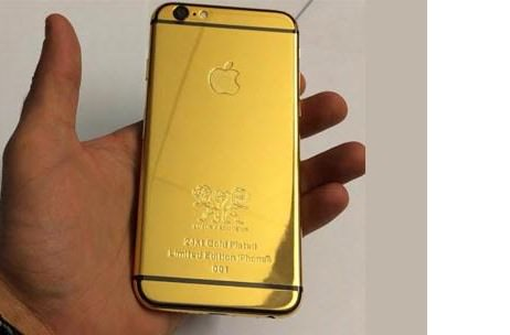 For The Gold-digger: Customized 24 Carat Gold Plated, Limited Edition iPhones for The Bride & Groom