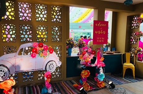 Wedding Duo Decks Up A Home Florally in Yellows and Pinks For Mehendi Event