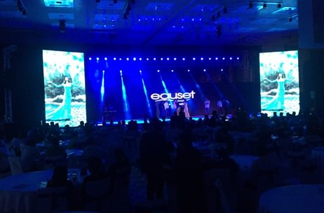 Marketing Solutions uses 'aqua blue' themed LED graphics for Eauset Launch
