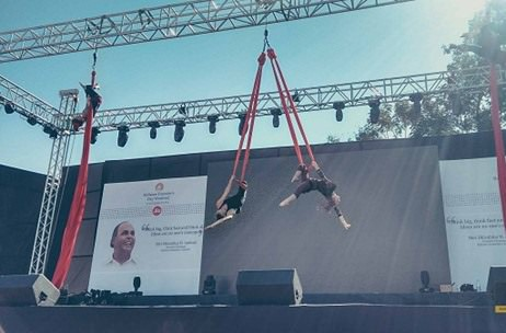 Natura's 'Wonders of Silk' Aerial Act at Reliance Jio Event in Vadodara