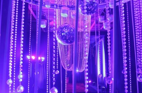 Elegant crystal décor at wedding anniversary by Elusive Dreams