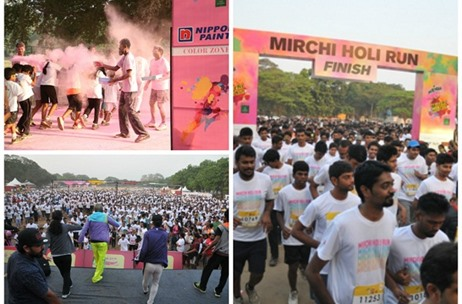 Percept Douse Chennai in Colour for 'Mirinda Presents Mirchi Holi Run'