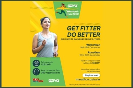 Virtual Marathon 'OZiva Women's Run', for Women to Pursue Their Fitness Journey, Begins Today