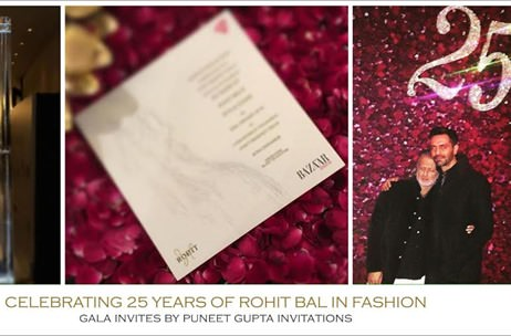 A Simple Malmal Invite for Rohit Bal's 25th Anniversary Celebration by Puneet Gupta Invitations!