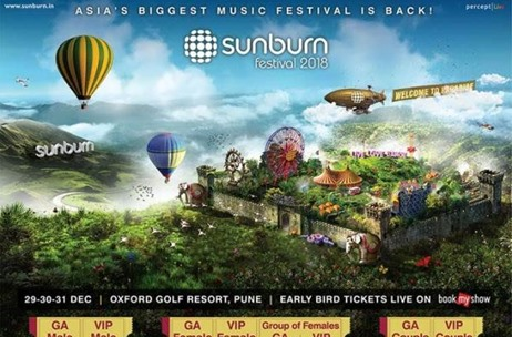 Sunburn Festival 2018 to Kick Off on December 29, 2018 in Pune