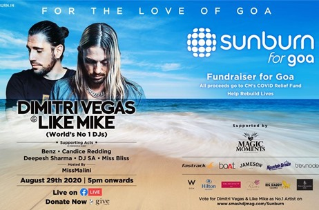 Online Fundraiser 'Sunburn For Goa' to Feature Artistes from Belgium and Five Locations in Goa