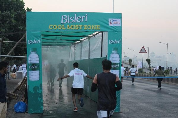 bisleri engages runners at tata mumbai marathon with a bottles for