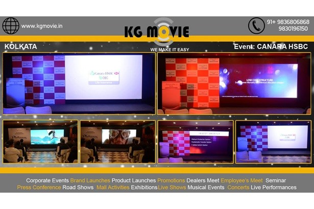 KG Movie provided services for Canara HSBC OBC life insurance event in Kolkata.