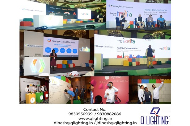 Q Lighting provided services at 'Google Developer Meet - Solve for India' event at The Taj Bengal, Kolkata.