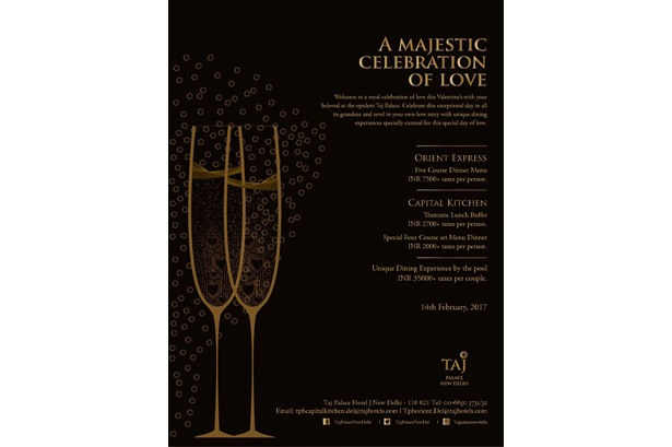 Celebrate Valentines Day at Taj Palace, New Delhi.